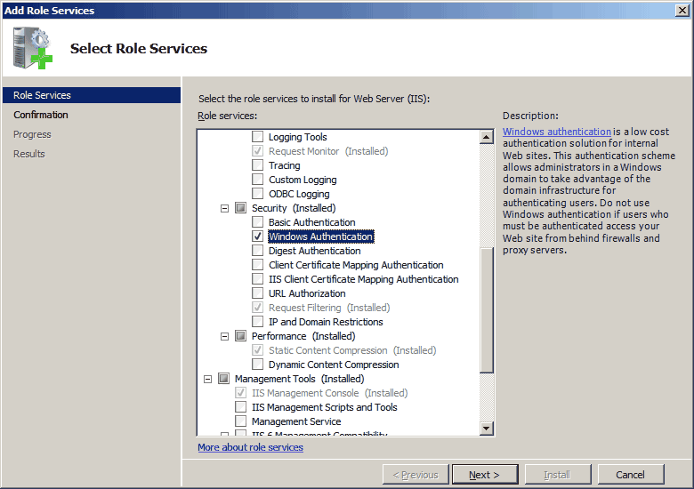 Install Windows Authentication on Server 2008