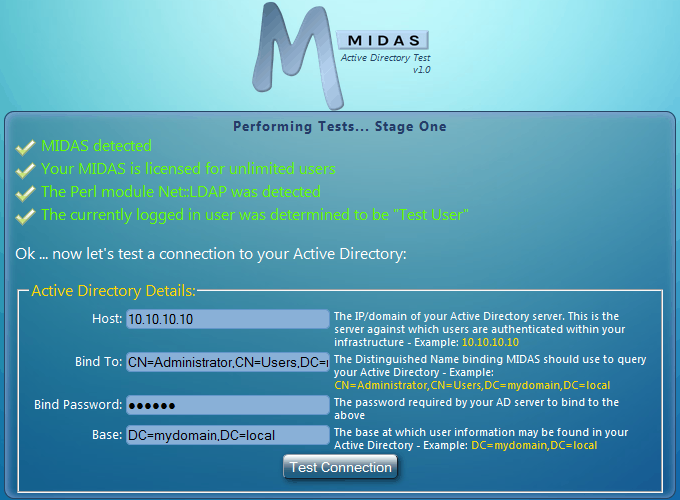 MIDAS Room Booking System Active Directory Integration Test