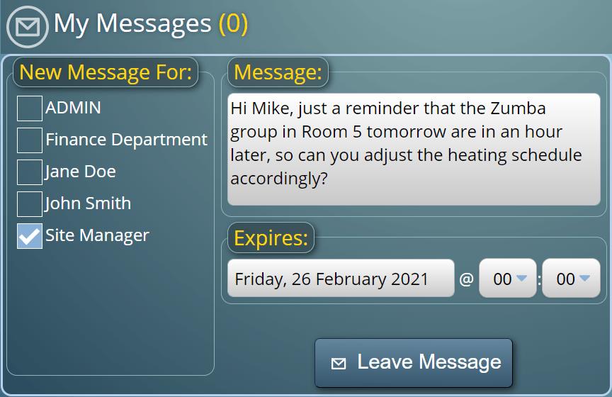 Internal User Messaging in MIDAS