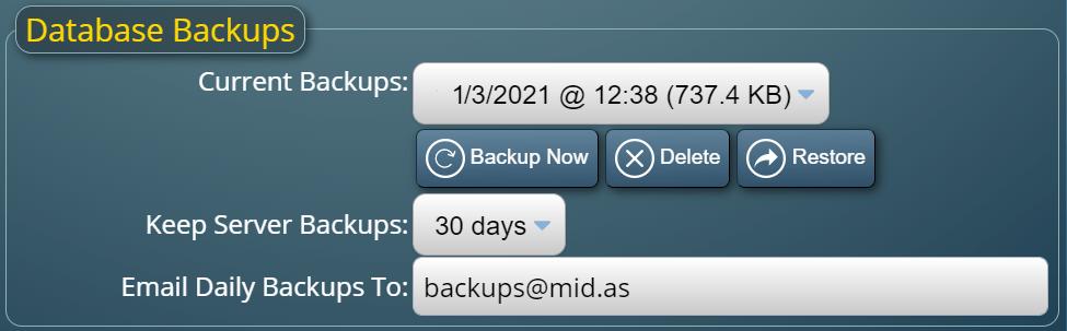 Database Backup/Restore Manager in MIDAS