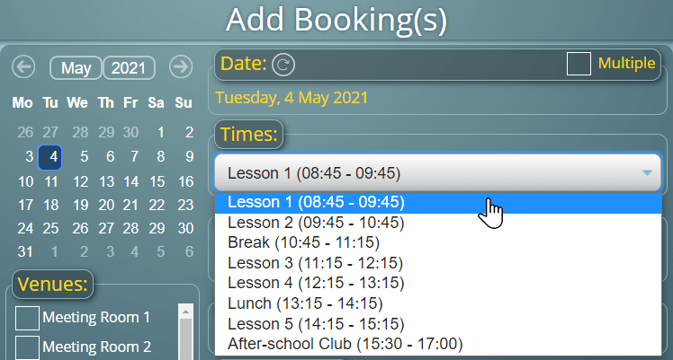 Booking from a list of time slots, rather than manually selecting start/finish times