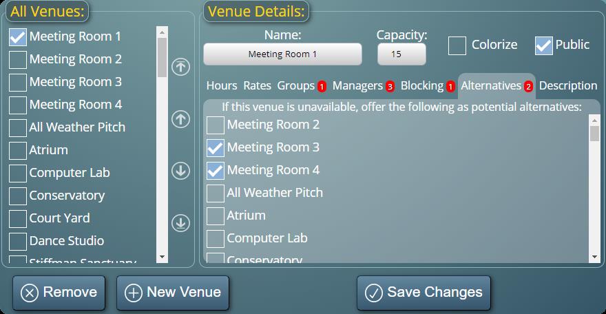Specifying alternative substitute venues in MIDAS