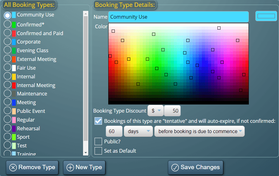 Color code bookings in MIDAS by their type