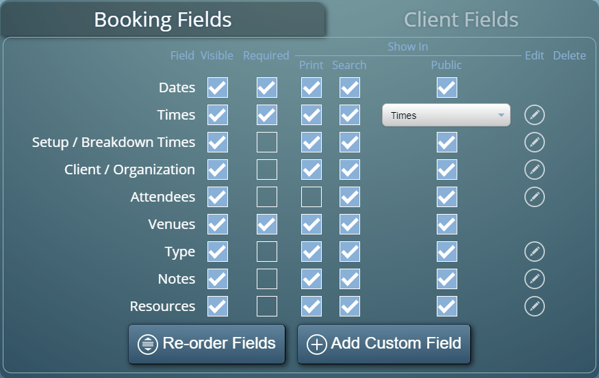 Extensive control over Booking and Client Fields in MIDAS