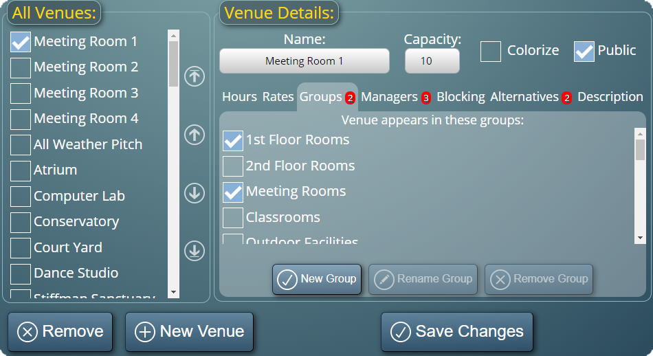 Assigning rooms to venue groups