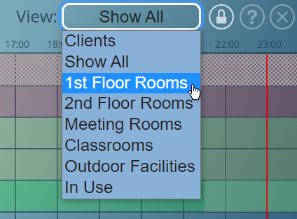 Filtering the Booking Grid by venue group