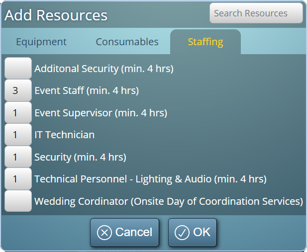 Assign resources to your bookings and events