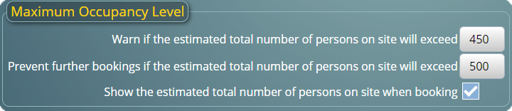 Set maximum occupancy (capacity) limits in MIDAS