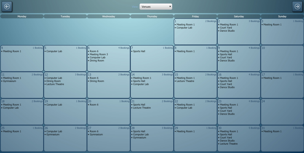 Monthly booking overview calendar