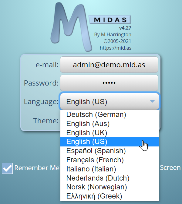 MIDAS can be used in a variety of different language translations