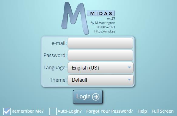 A typical MIDAS login screen