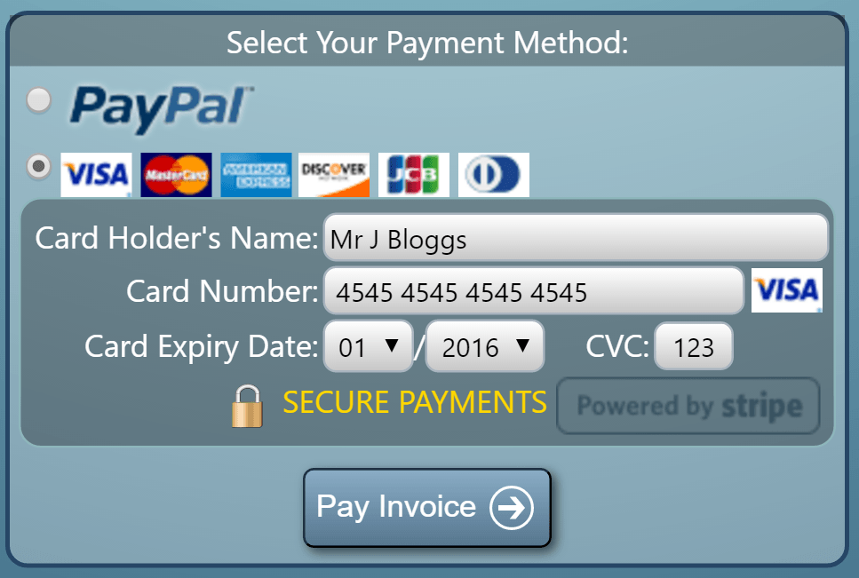 Multiple online payment methods supported by MIDAS