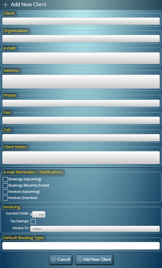 The Add Booking screen in MIDAS. Fields can be enabled/disabled and custom fields added