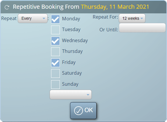 Quickly schedule regular recurring bookings for clients