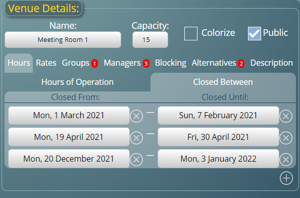 Close a space over date ranges such as holidays