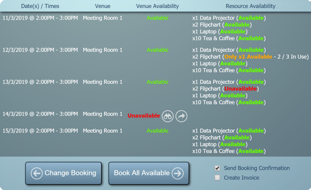 Booking Availability check showing a conflict with an existing booking