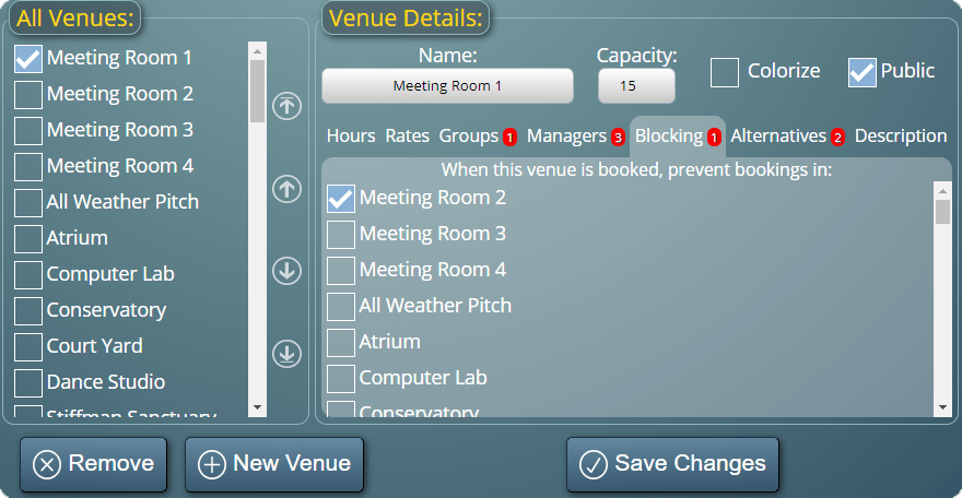 Setting up venue blocking rules in MIDAS
