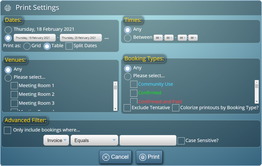 Control which bookings appear on your printouts