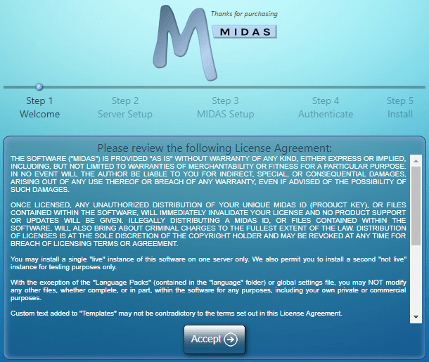 Install MIDAS room booking software