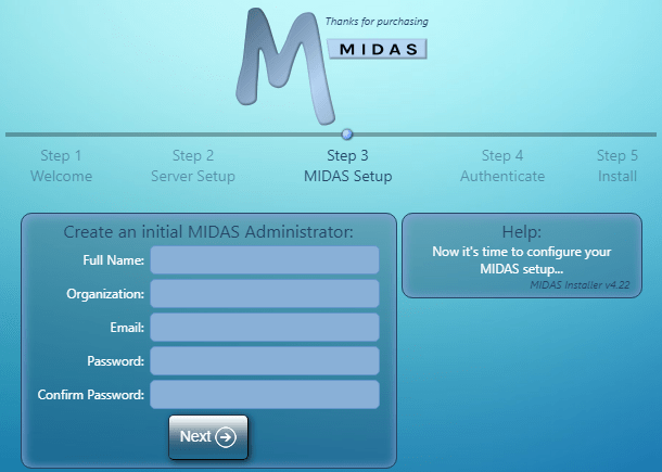 MIDAS Initial User Settings