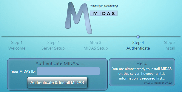 MIDAS Install Authentication