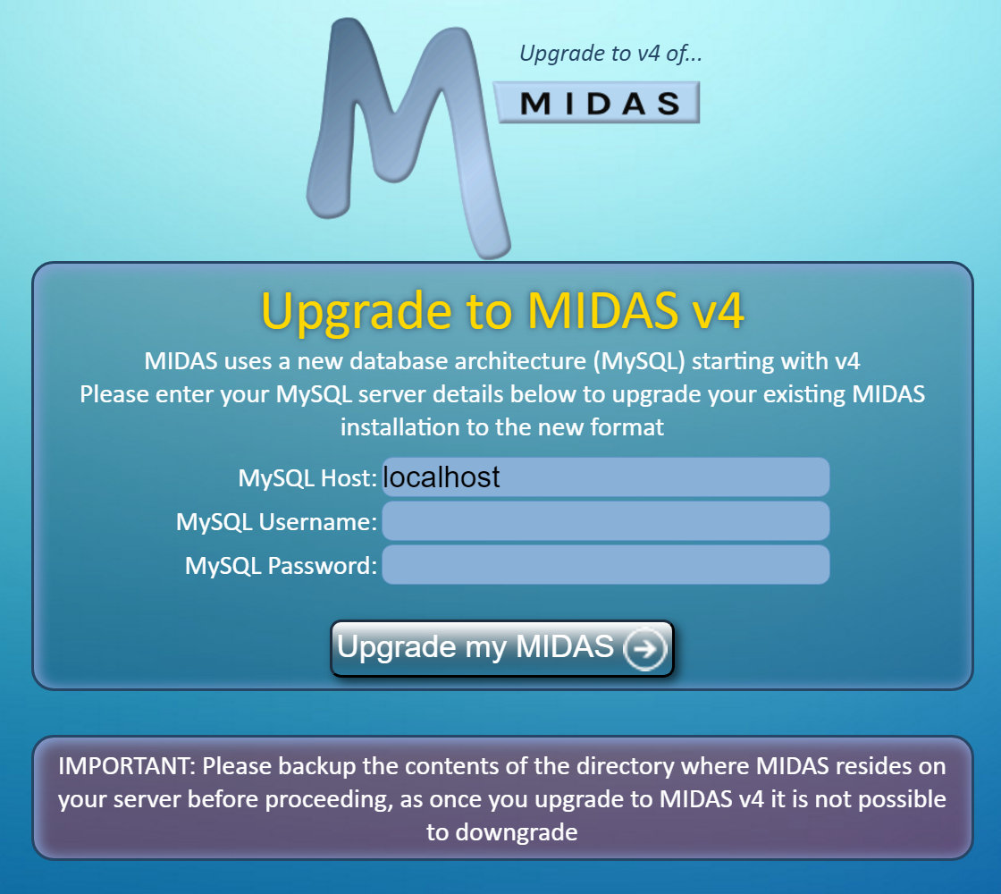 Upgrade to MIDAS v4 - MySQL details