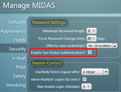 Enable two-factor authentication in MIDAS