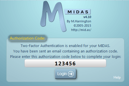 Two-factor login authentication for MIDAS