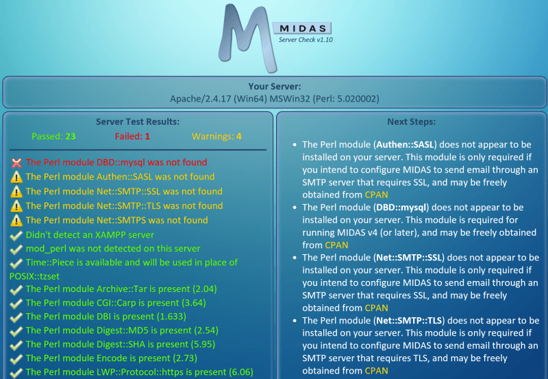 MIDAS Server Readiness Tool