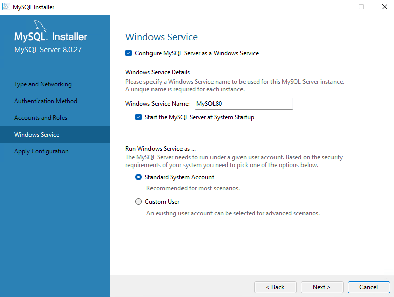 Install MySQL as a Windows Service