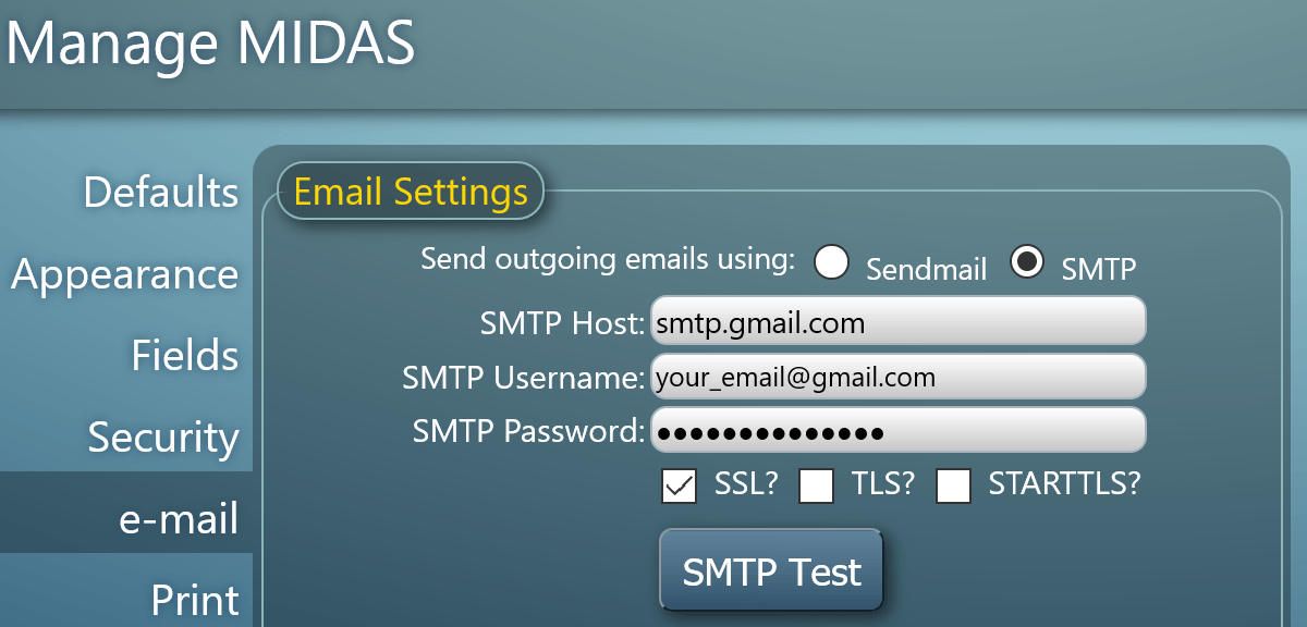 MIDAS Gmail SMTP Server Settings