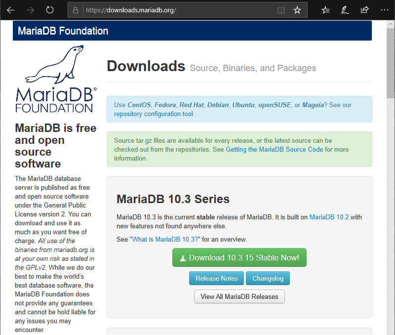 Download page on MariaDB.org