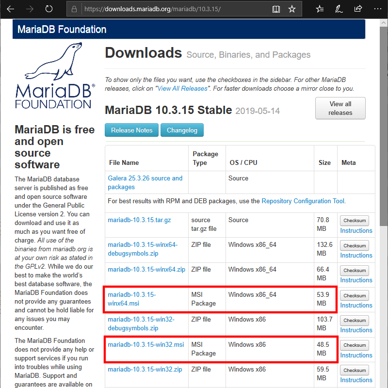 Select MariaDB download type