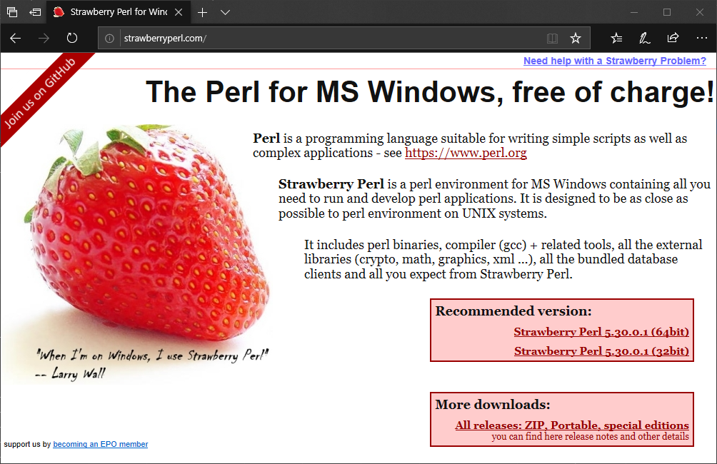 Download Strawberry Perl for Windows