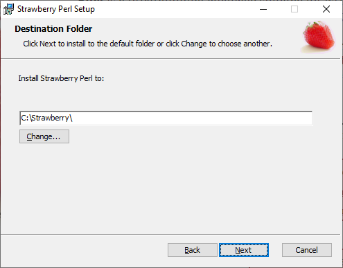 Choose where to install Strawberry Perl to