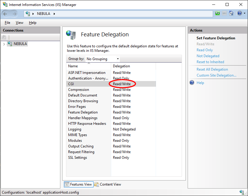 Feature Delegation for CGI in IIS