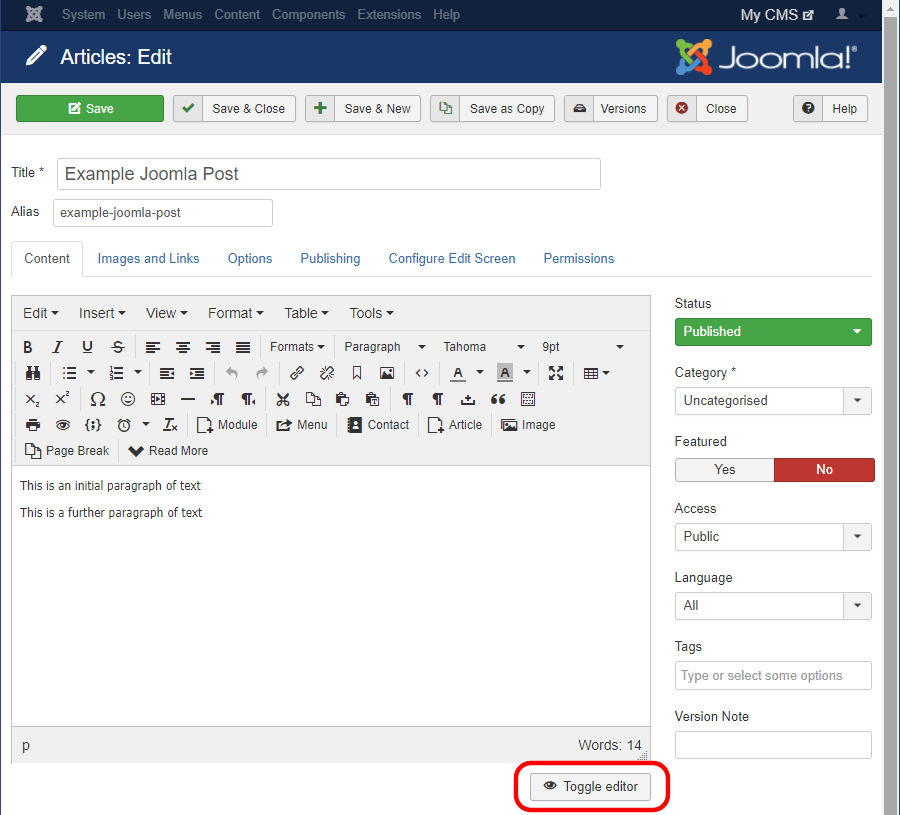 Toggle between code and visual editors in Joomla!